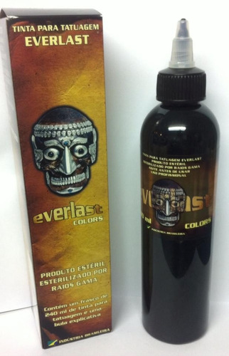 tinta everlast outliner black (preto linha) 240ml tatuagem *