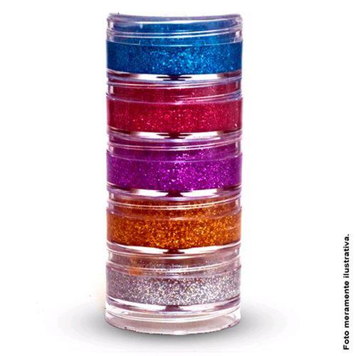 tinta facial glitter cremoso - kit com 5 cores