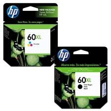tinta hp 60xl combo color 15,5ml y negro 13,5ml
