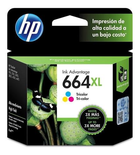 tinta hp 664xl advantage tricolor  (f6v30al)