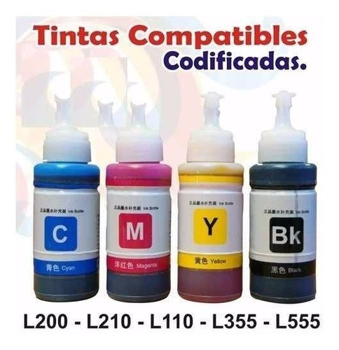 tinta impresoras epson ecotank l100 l200 l210 l110 l355 l555