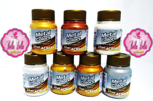 tinta metal colors 37 ml  acrilex 2 unidades