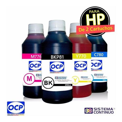 tinta ocp 4 colores x 250cc para hp 2 cartuchos envio gratis