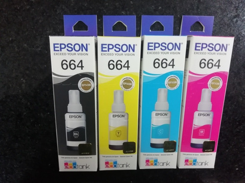 tinta original epson 664 l210,l380,l355,l395,kit 4 color 544