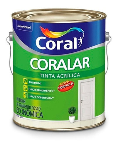 tinta para parede coral - coralar branco fosco - 3,6 litros