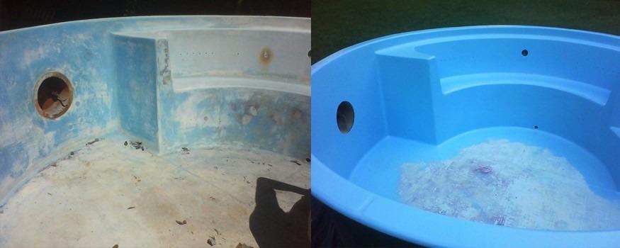 Tinta para piscina de fibra de vidro gel coat iso azul for Pintado de piscinas