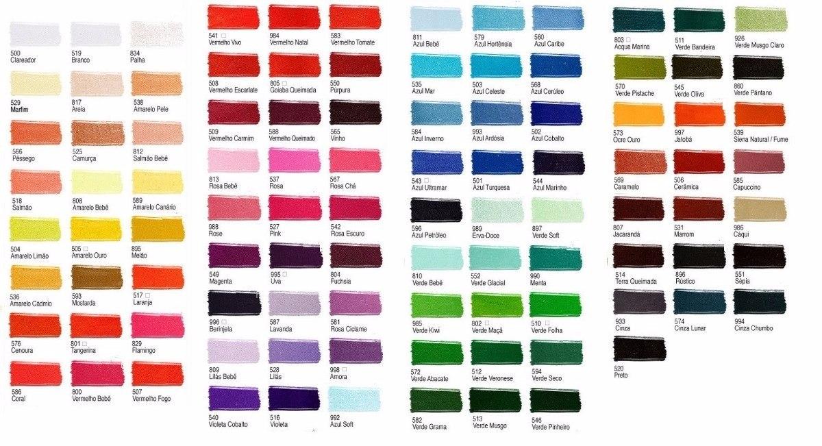 3a00e26f59 Tinta Para Tecido Acrilex 37ml Kit 50 Unidades Todas Cores - R$ 174 ...
