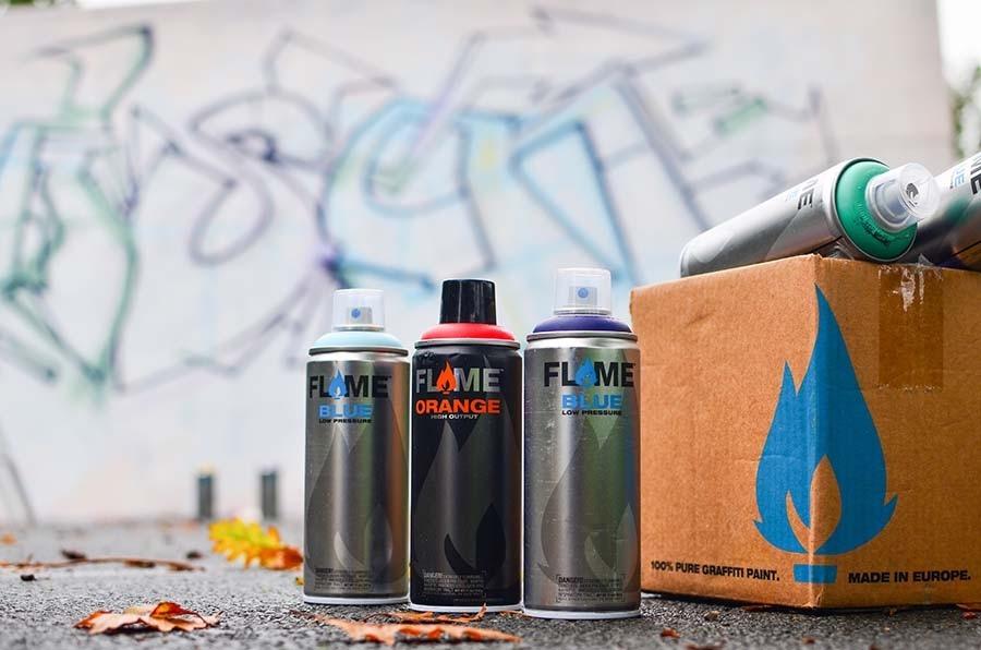 Tinta Spray Para Graffiti Flame Blue E Orange 8 Un