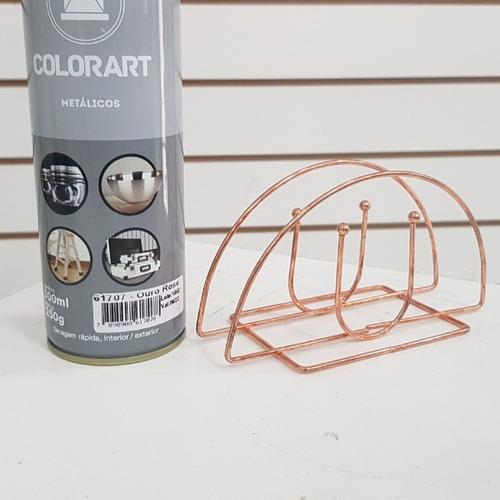tinta spray rose gold artesanato metalico jornal cesto