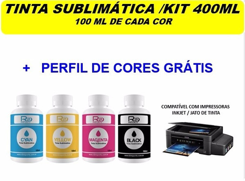 tinta sublimatica r2imports kit 400ml sendo 100ml cada cor