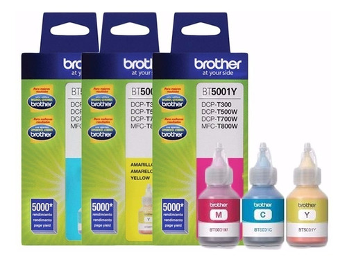 tintas brother bt5001 (amarillo,cyan y magenta) set x3