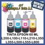 Tintas Epson L 60ml L110 L120 L200 L210 L350 L355 L555 L800