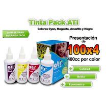 Tinta Pack Ati Hp Serie Vivera 100cc X 4 Colores Cmyb