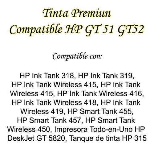 tintas compatible hp gt52 gt51 gt-5820 negro color bagc