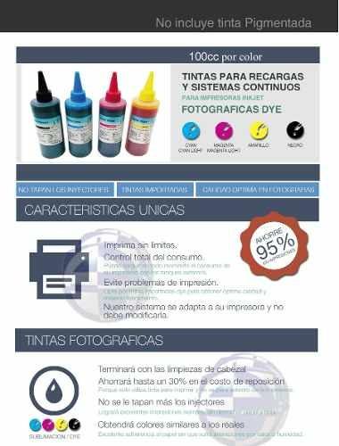tintas fotograficas dye de 100cc para hp, epson y canon