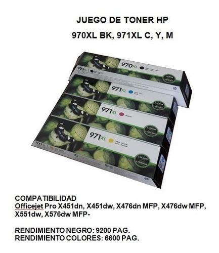 tintas originales hp / juego 970xk bk, 971xl c, y, m.