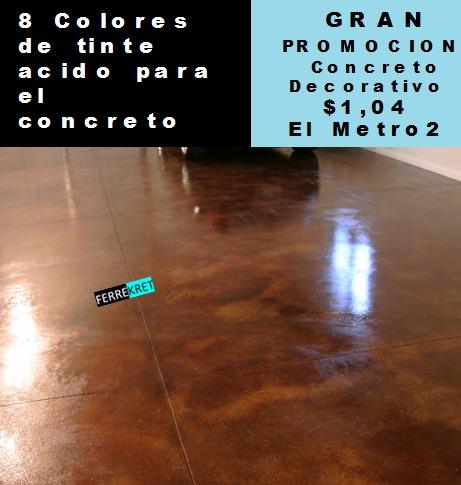 Tinte cido para concreto decorativo piso y pared u s 2 - Cemento decorativo para paredes ...