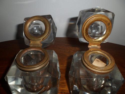 tinteros de cristal y bronce