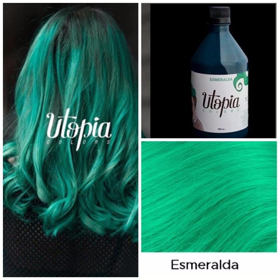 Tintura Utopia Color Fantasia Verde Esmeralda 500ml +guantes - $ 330 ...