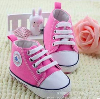 tipo converse baby niña rosados talla 2