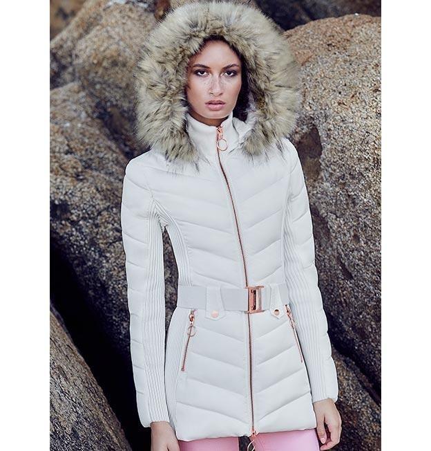 distribuidor mayorista 3219e a74e2 Tipo Melena Leon Abrigo Mujer Blanco Elegante Frio