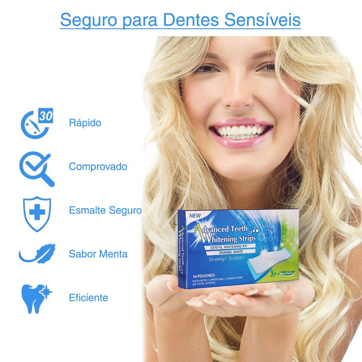 Tira Clareadora Dental Clareamento Dentes 28 Fita White Gel R 34