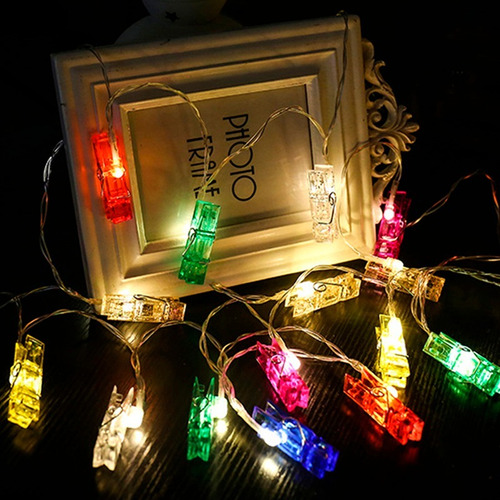 tira de luces led broches multicolor con enchufe 2,7 metros