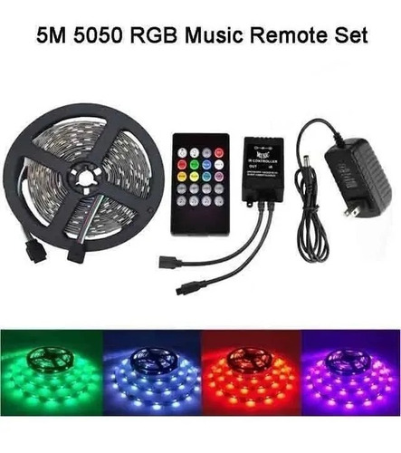 tira de luces led ritmicas 5mtrs rgb sonido decoración luces