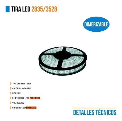 tira led 3528 / 2835 interior x5 metros 300 leds promo