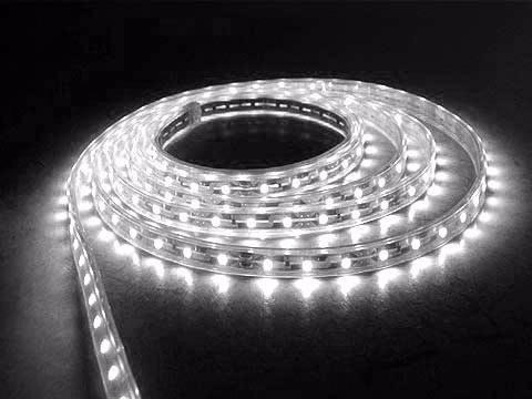 tira led 5050 exterior 5mts silicona alta potencia blanco