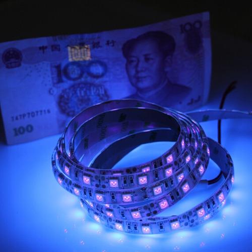 tira led 5050 ultravioleta luz negra 5 metros interior 12v