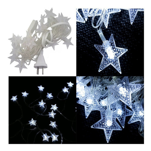 tira led estrella guirnalda blanca fria 5 mts 220v navidad