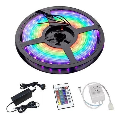 tira led rbg exterior luces colores fuente + control remoto