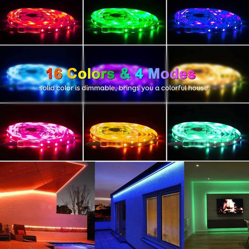 tira led rgb 10m(2x5m) decoracion luces con control remoto
