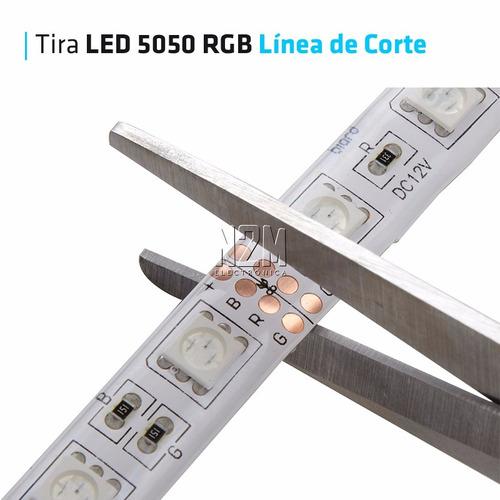 tira led rgb 5050 exterior - kit completo + fuente 12v