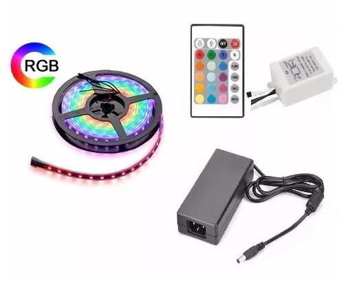 tira led rgb 5m exterior + transformador + controladora n2m