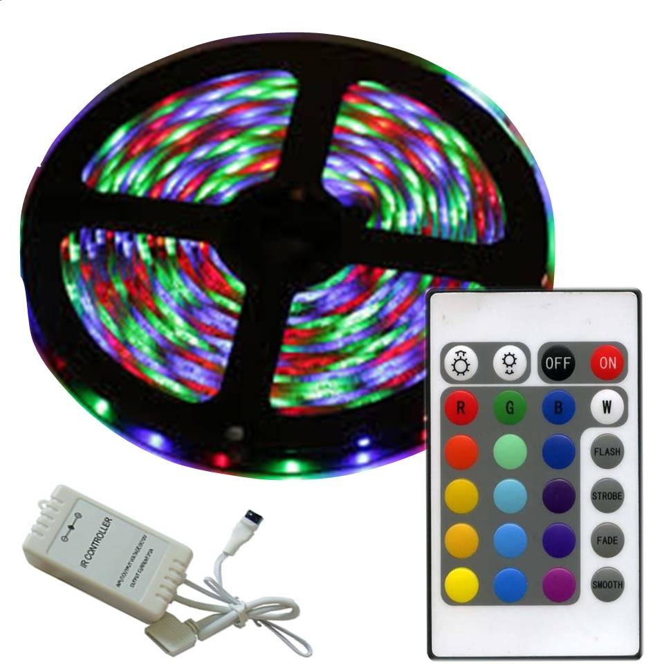 Tira led rgb multicolor rollo led control remoto luces led - Tira de led exterior ...