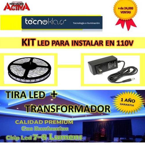 tira led + transformador eliminador 12v rollo led casas