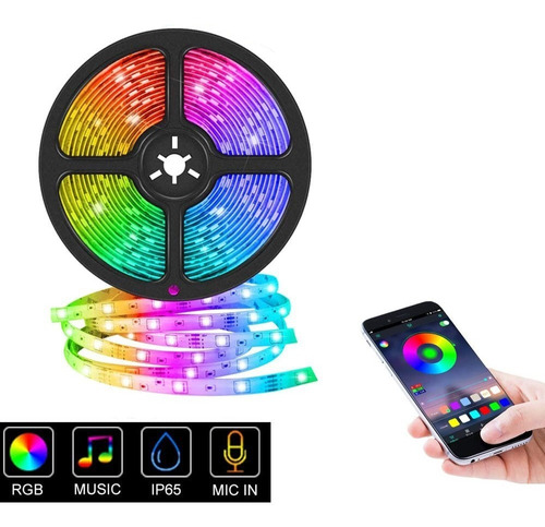 tira luces led bluetooth 5m control app usb impermeable rgb