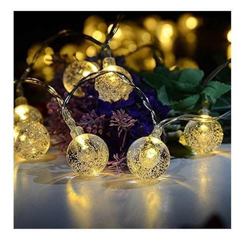 tira luces led bolita cristal guirnalda calido 5mts a pilas