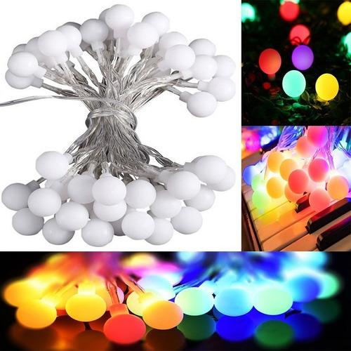 tira luces led bolita guirnalda multicolor 5 metro a pila