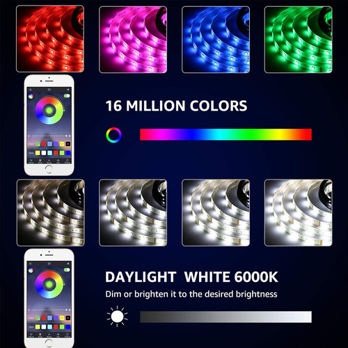 tira luz led bluetooth 10m (2x5m) 300 led remote control app