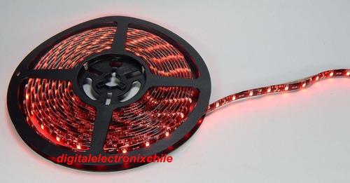 tira/cinta led 1210 color rojo 5 mts 12v con cinta adhesiva