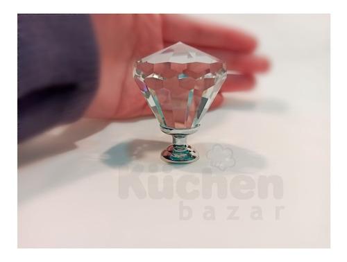 tirador alto cristal diamante jumbo 4 cm