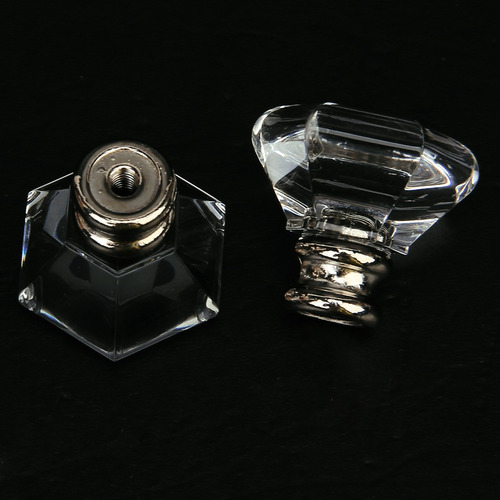 tirador de cajón, 2 uds. acrílico hexagonal transparente