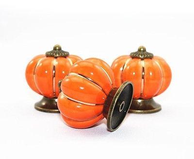 tirador de cerámica naranja manijas  puertas cajones x 10