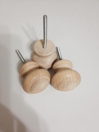 tirador de madera guatambu redondo con varilla roscada x 100