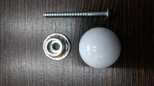 tirador mueble cajon manija plastico esferico 25 mm blanco