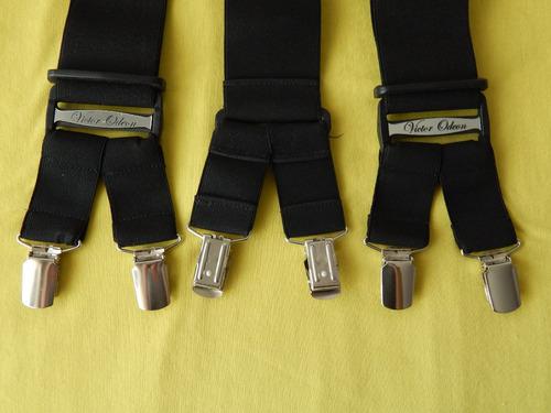 tirador pantalón suspenders doble pinza madison negro 5cm
