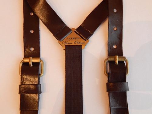 tirador pantalón suspenders pinza madison cuero hebilla 2cm